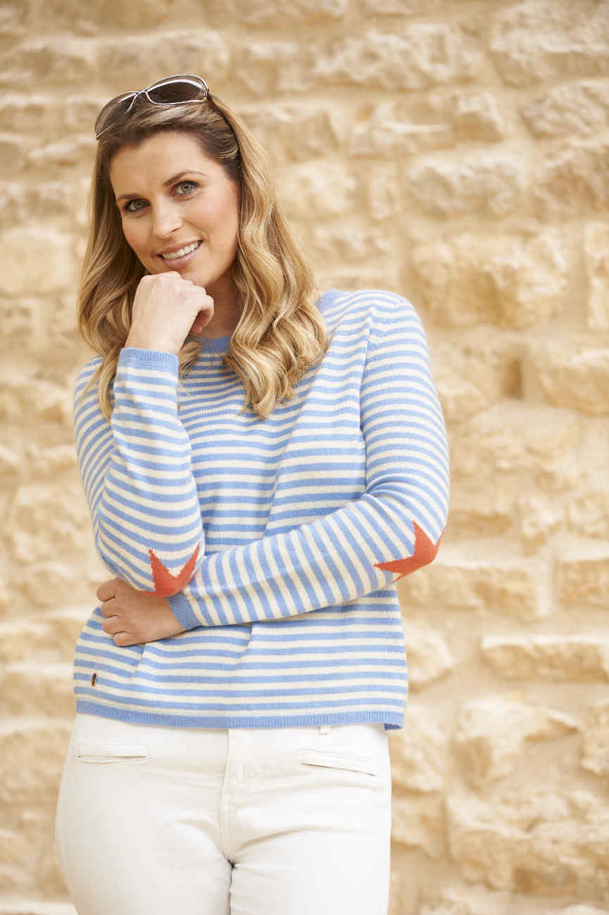 Cashmere boxy fit striped sweater with coral star intarsia elbows